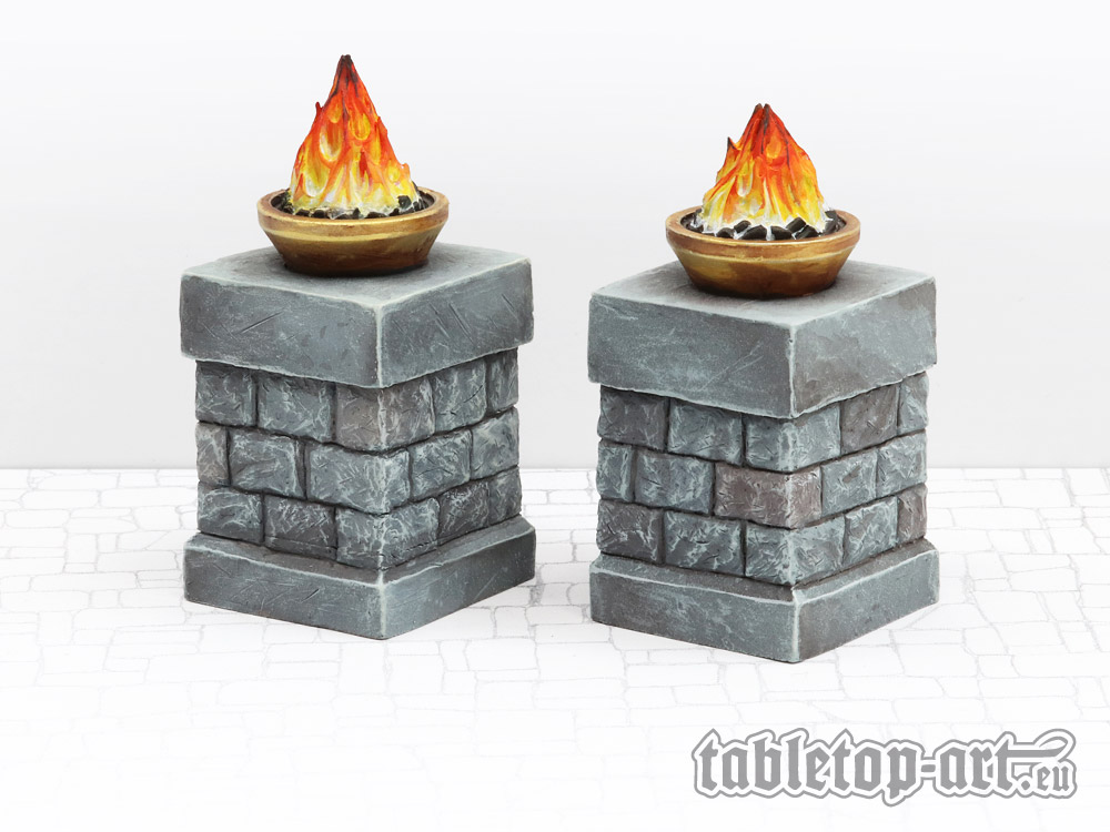 Fire bowls on pillars