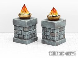 Fire bowls on pillars - Set 1 (2)