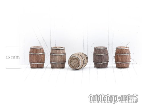 Wooden Barrels Set 2 - Medium Barrels (5)