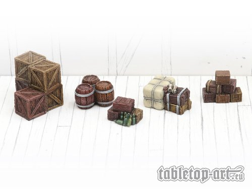 Stacked boxes and barrels set 1