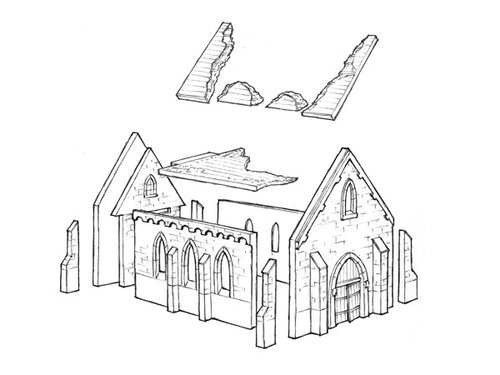 Destroyed normandy church - 15mm