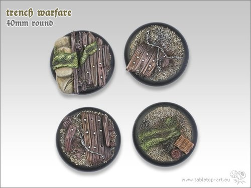 Trench Warfare Bases - 40mm Round Lip (2)