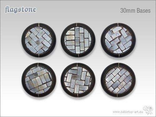 Flagstone Bases - 30mm Round Lip (5)