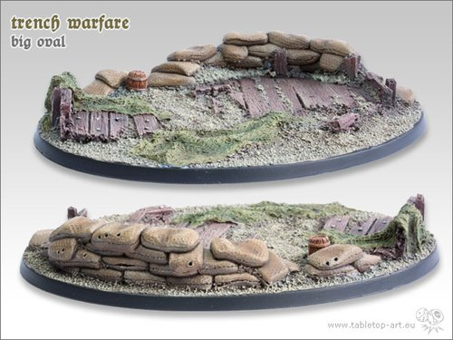 Trench warfare Bases - 120mm Oval 1